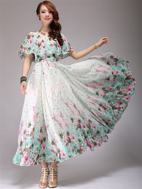 Floral Print Chiffon Dress floral print chiffon scoop neck maxi dress milanoo