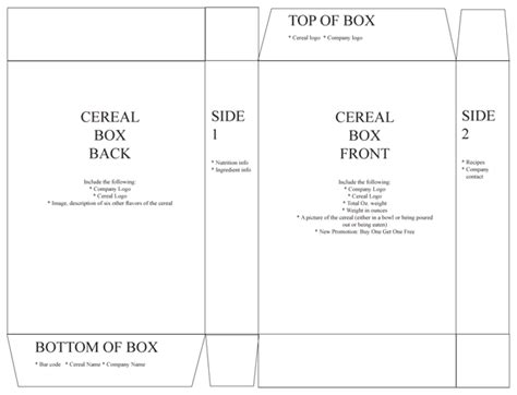 Cereal Box Template Cereal Box Book Report Template Cereal Box Book Report Cereal Box Book Custom Cereal Box Template