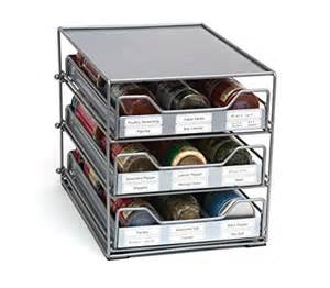 spice rack organizer with 3 pull out tilting drawers and
