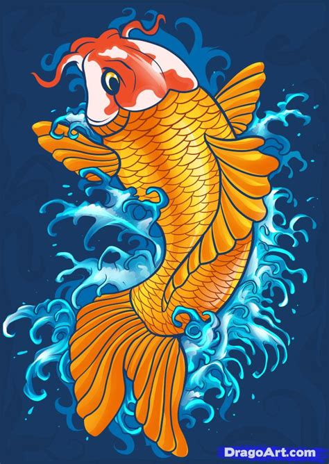 Drawing Koi Fish by How To Draw A Koi Step By Step Fish Animals Free