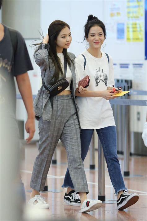 blackpink fashion airport jennie and jisoo blackpink kpop pinterest