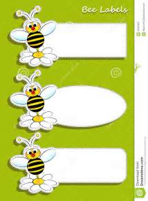 labels with bee illustration for kids royalty free stock