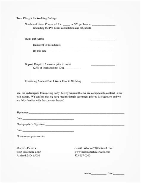 contract agreement for wedding photography