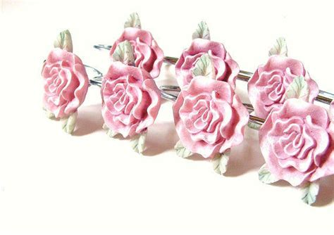 rose shower curtain hooks vintage pink rose shower curtain hook set from