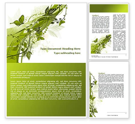 nature templates for word green butterfly theme word template 08009