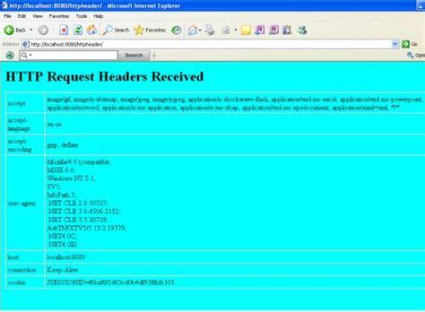 design jsp header http request headers display in a jsp page