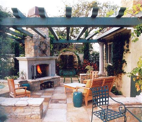 outdoor patio fireplace pergola exterior living design
