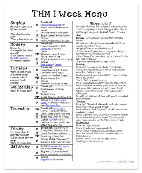 printable thm recipes weekly menu planning gwen s nest
