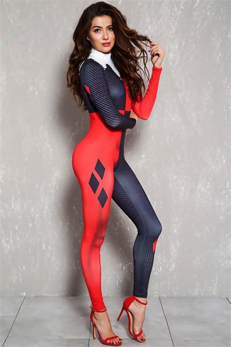 little girls black bodysuit sexy red black jester one piece costume