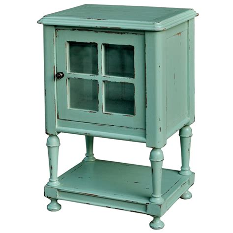 cottage side table with glass cottage decor