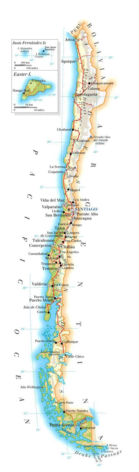 physical map of chile physical map of chile with airports and cities chile