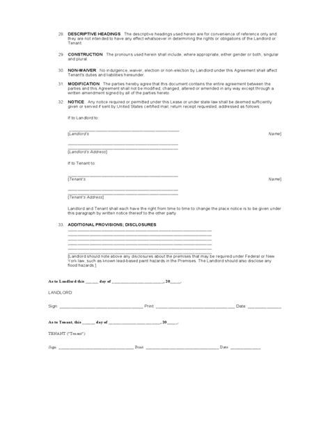 New York Standard Residential Lease Agreement Template Free Download Ny Residential Lease Agreement Template