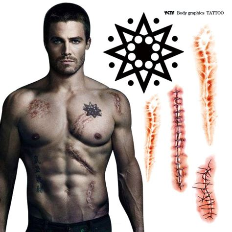 oliver queen tattoo chinese temporary tattoo green arrow man tattoo stickers sexy