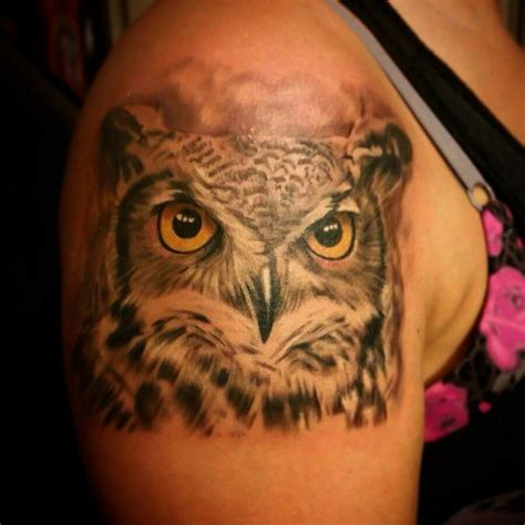 horned owl tattoo owl realistic vicstattoos horned owl black and