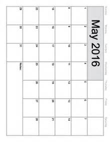 Free Calendar Templates To Print by May 2016 Calendar Printable Template 8 Templates