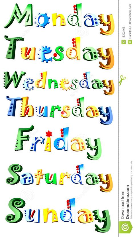 images for week the days of the week stock photos image 15302463