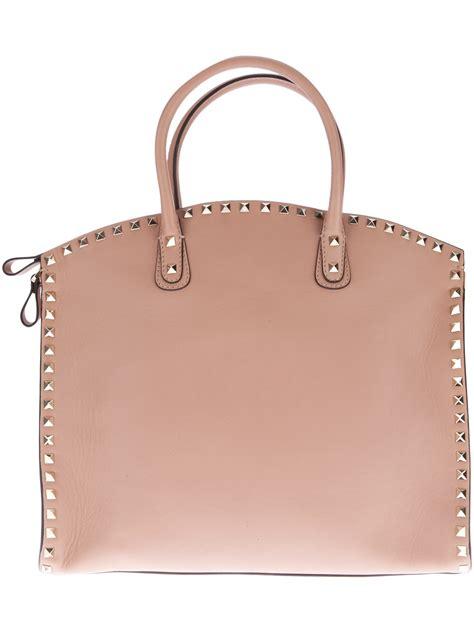 Valentino Studded Tote by Valentino Studded Tote Bag In Beige Pink Lyst
