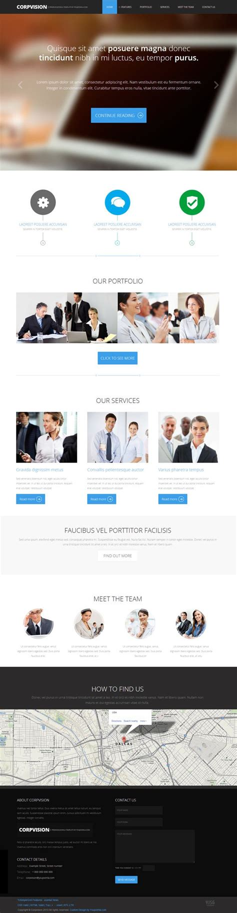 one page joomla templates corpvision one page responsive parallax joomla template
