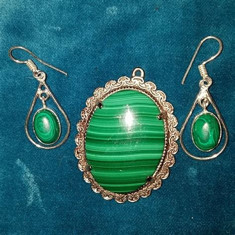 50 jewelry nwt 925 silver malachite earrings and