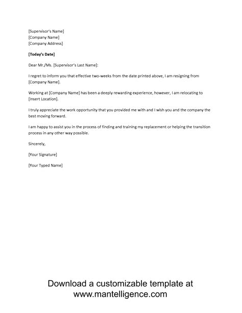 two weeks template 3 highly professional two weeks notice letter templates