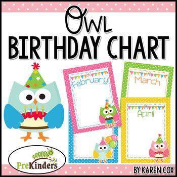printable owl birthday chart birthday chart owls editable by karen cox teachers