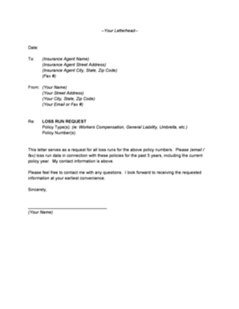 Insurance Letter Of No Loss loss run request letter fill printable fillable