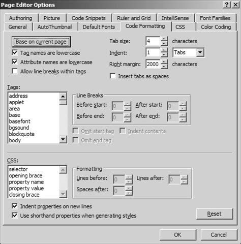 format html expression web setting up expression web page editor options code