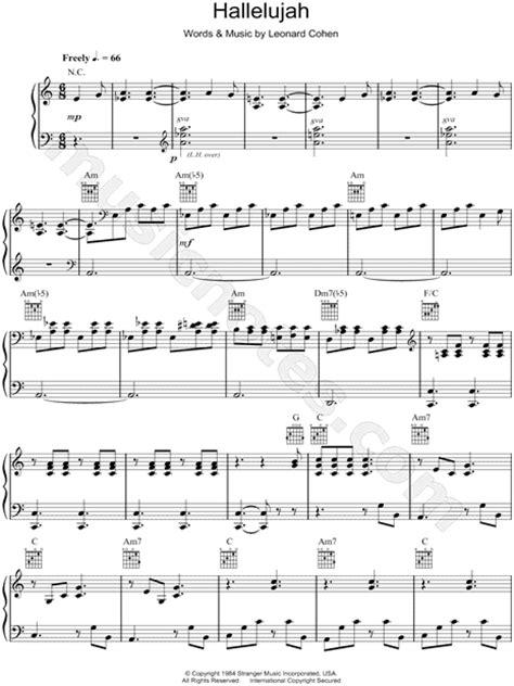 printable hallelujah lyrics jeff buckley jeff buckley quot hallelujah quot sheet music in c major