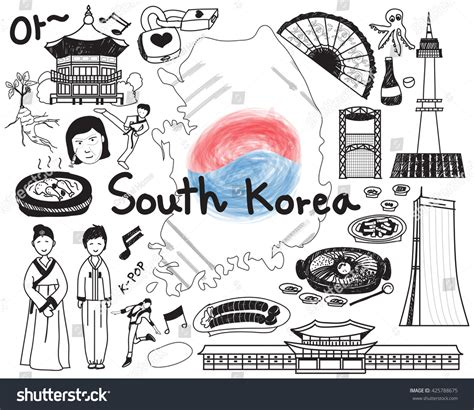 doodle korea travel to south korean doodle drawing icon with culture