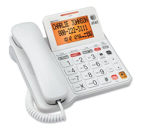 at t white corded home desk table wall landline phone