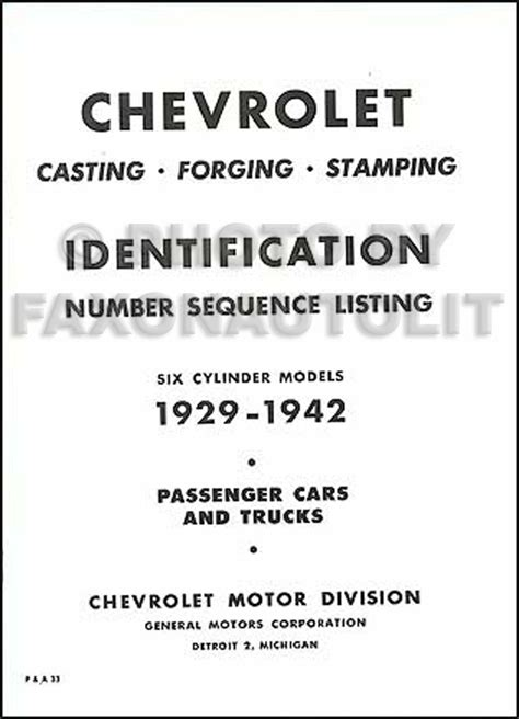 chevrolet parts numbers i d 1929 1942 chevy parts book of forge st