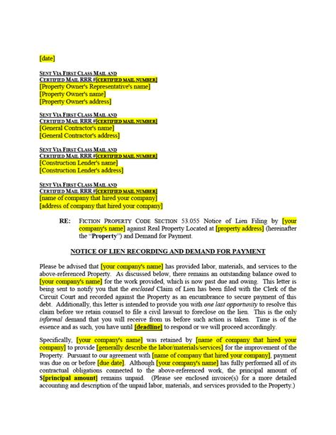 5 Biggest Mistakes On Florida Mechanics Lien Notice Of Lien Letter Template