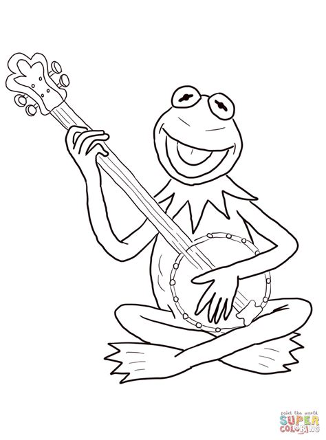 kermit the frog playing guitar coloring page free