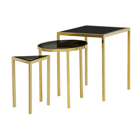 Gold Nesting Tables by Geometric Gold Nesting Tables Xcella