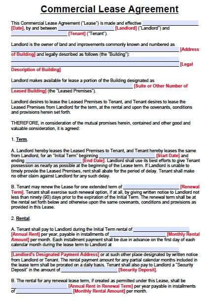 texas commercial lease agreement form  word