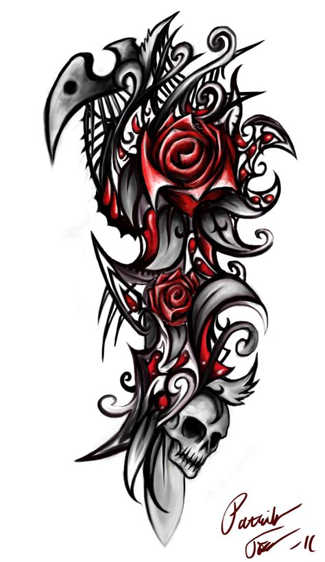 rose and tribal tattoo designs skull by patrike on deviantart