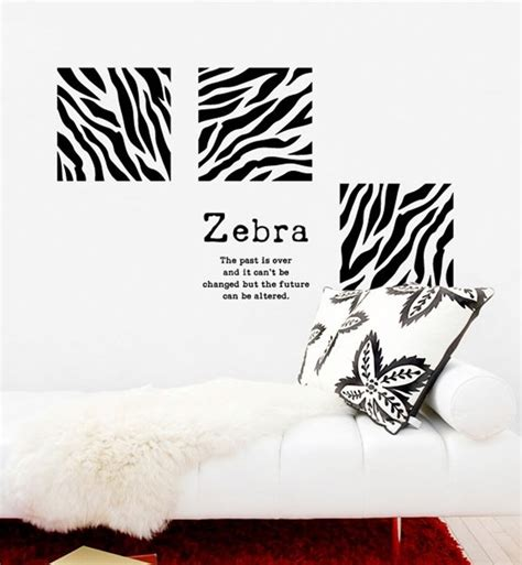Zebra Print Panels Square Quotes DIY Modern Wall Art Vinyl