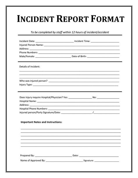 incident after report template incident report form template after school sign in