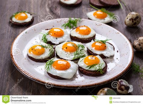 canape oeuf canapes d oeuf de caille photo stock image 49644495