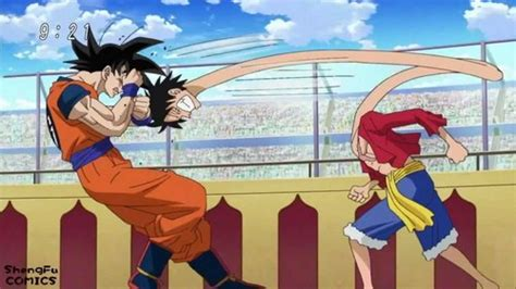 goku and luffy vs toriko post a picture of goku fighting any character charecter