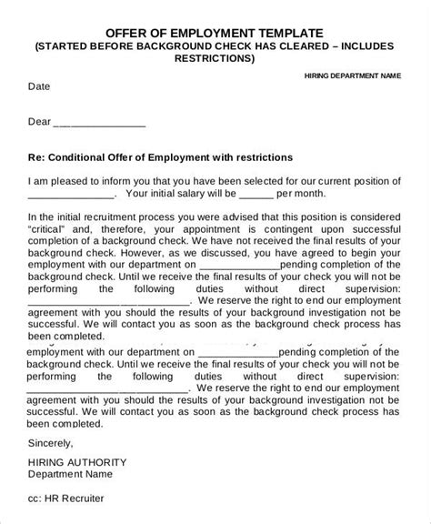 Appointment Letter Conditions employment offer letters employee offer letter employment