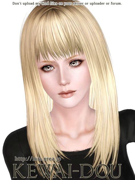 long hair with bangs sims2 cecile k long hair for the sims3 kewai dou
