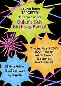 laser tag birthday invitations laser tag sports birthday
