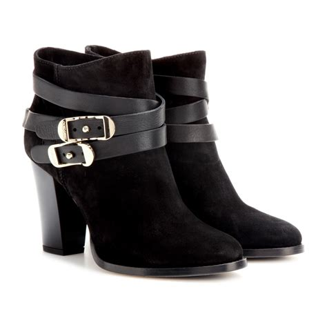jimmy choo boots lyst jimmy choo melba suede ankle boots in black