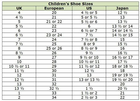 shoe size chart philippines to japan clothing size conversion charts