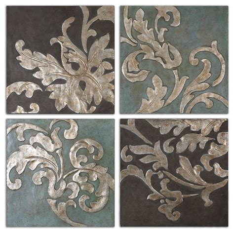 damask relief blocks wall set of 4 traditional