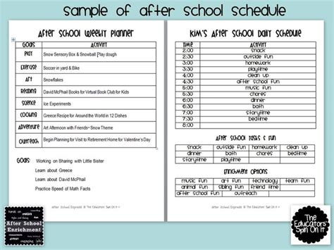 Kids Routine Chart Weekly Planner And Spin On Pinterest After School Program Lesson Plan Template