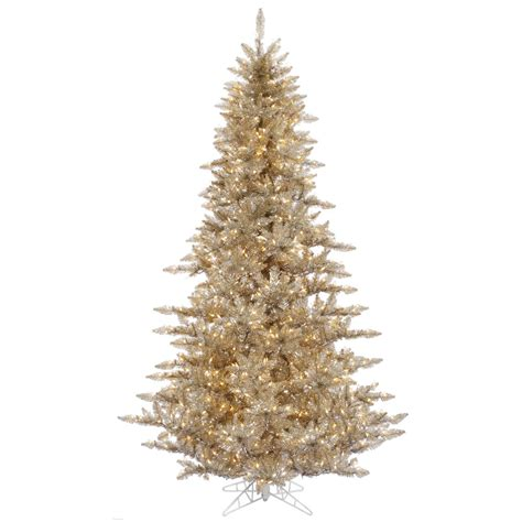 3 Ft Gorgeous Champagne Gold Fir Tree Clear Lights Full Gold Tree Lights
