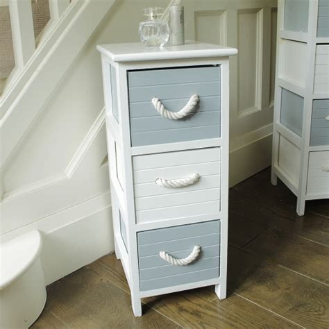 Nautical Bathroom Storage Blue And White 3 Drawer Nautical Storage Unit Chest Bedside Bathroom Room Ebay