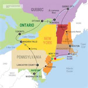 map of mid east coast usa east coast usa and canada tour tours in usa